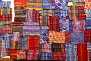 Collage of knitting swatches by designer Kirsten Hall