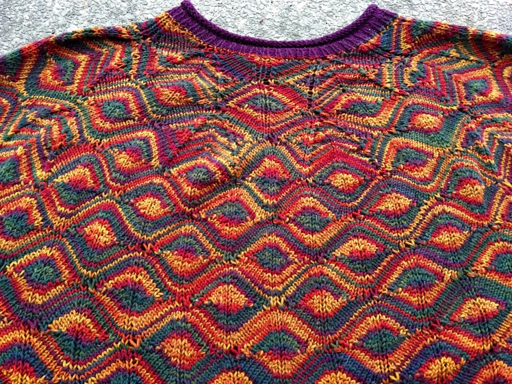 Neck shaping for Diamondback pullover uses inconspicuous short-rows