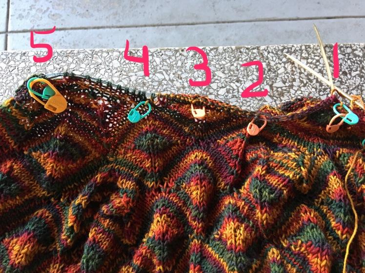 Set-up for yoke decrease motifs of Diamondback pullover