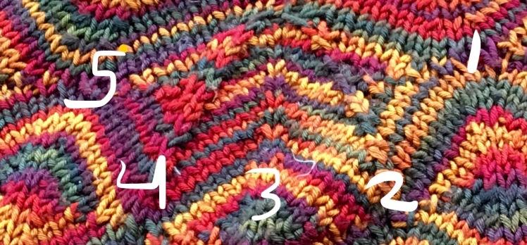 Completed Diamondback pullover yoke decrease motif