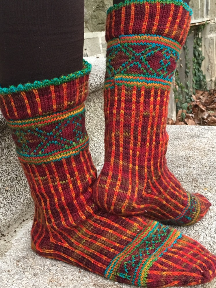 Completed test-knit of Linear Progression socks