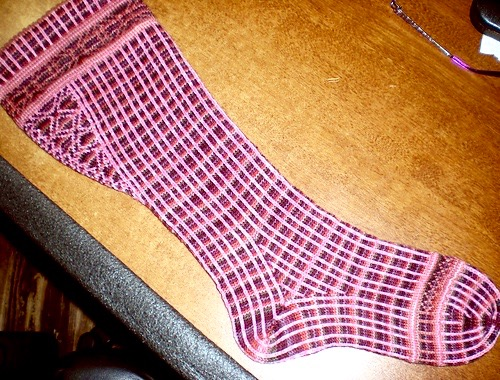 Prototype of Linear Progression socks with gusset