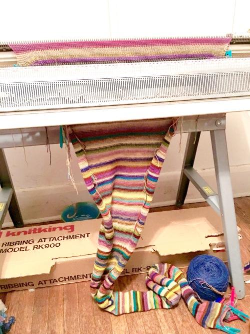 Machine knitting in progress