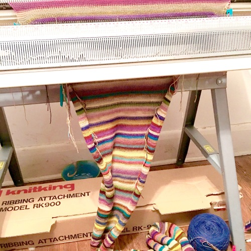 Machine knitting in progress
