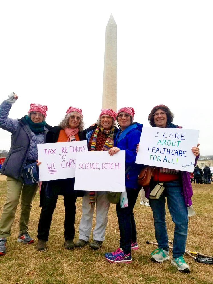 Five sisters posing at the Washington Monument