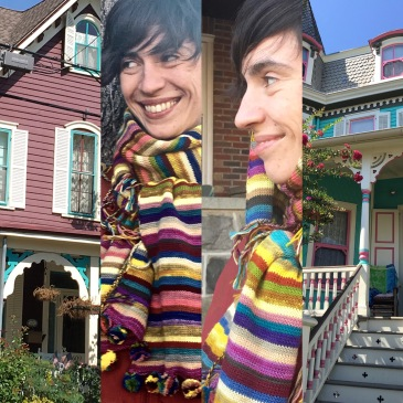 Painted lady houses inspiring knitted scarf