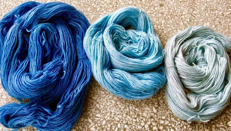 Three shades of black bean dyed yarn from same bath