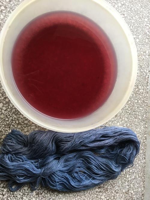 hank dyed in black bean water