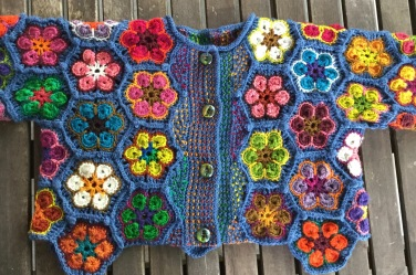 Crocheted African Flower baby jacket