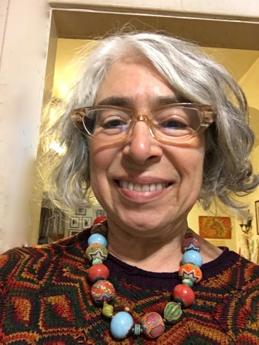 Selfie showing off beaded necklace made by Nancy Levine