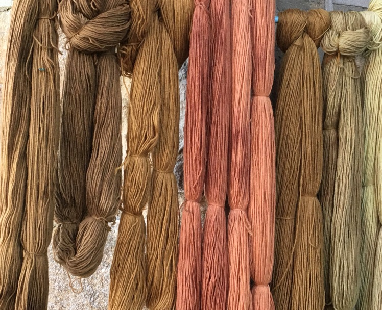 Two intensities of avocado pit dyed yarn (center) surrounded by brown plant-dyed yarn