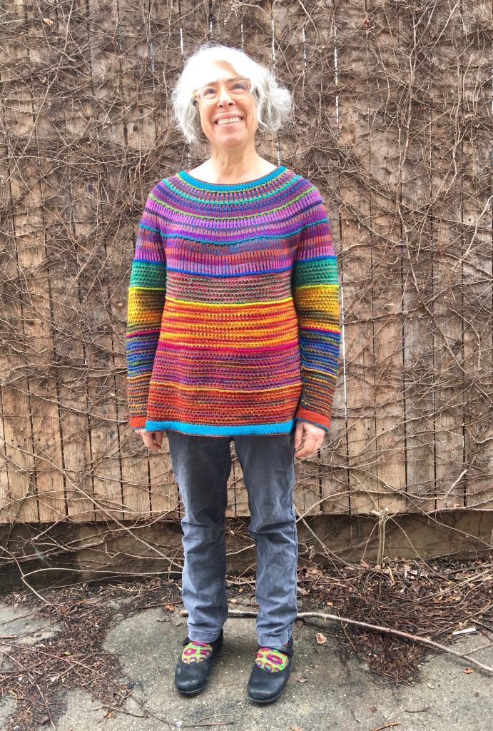 Horizontal stripes dominate overall impression of this pullover