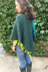 Alternate face of reversible machine knit poncho rear view