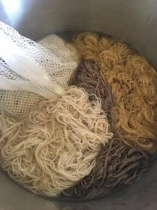 Yarn of various fibers in dock leaf dye bath
