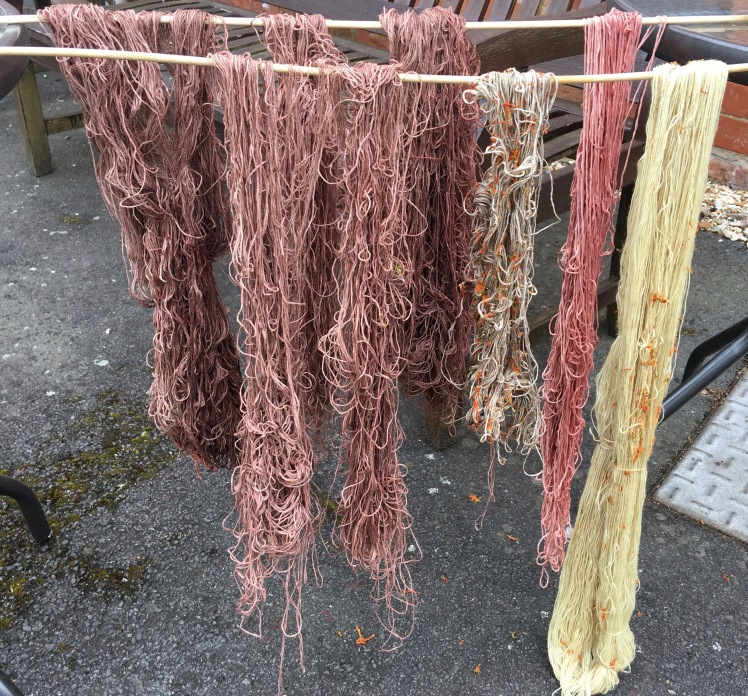 Plant-dyed linen and superwash wool dyed in hibiscus, avocado, calendula
