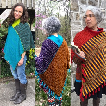 Three versions of machine-knit poncho design
