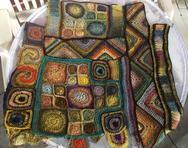 Completed assembly of second side of crocheted patchwork top