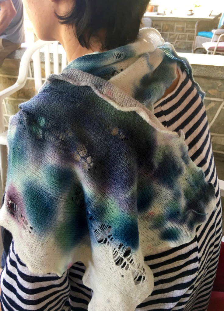 Intentionally distressed scarf, dyed randomly, and felted