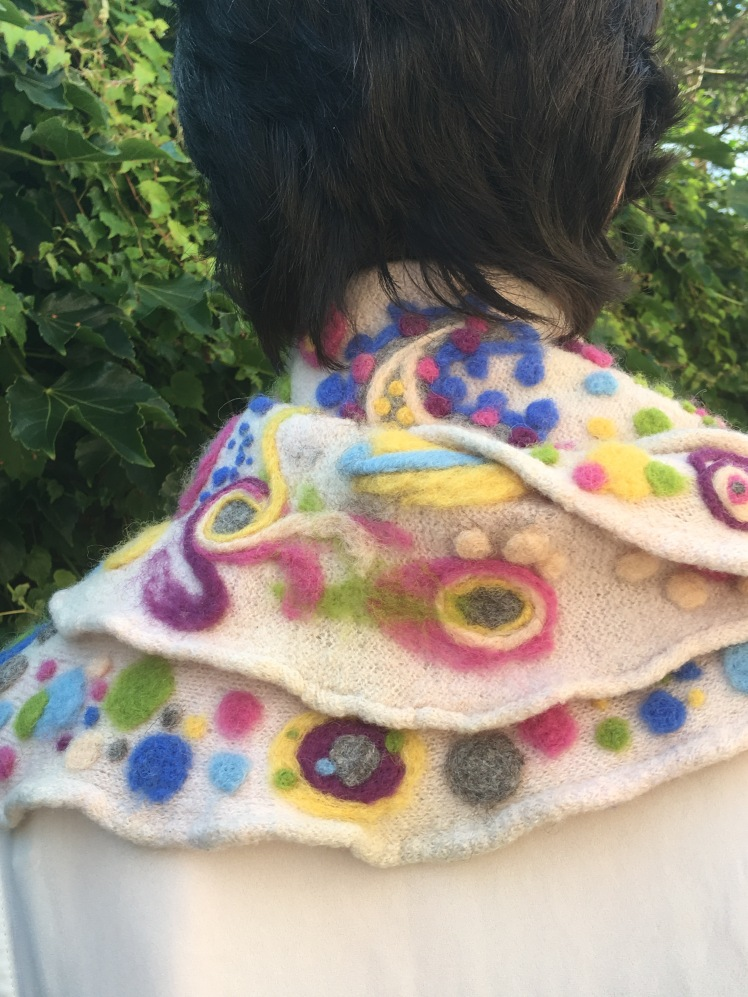 Modeled needle-felted scarf