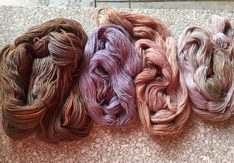 Cherry dyed yarn after initial color faded
