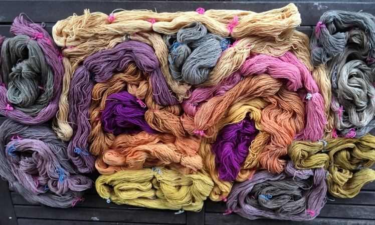 Yarn dyed with fermented and cooked plant dye extraction