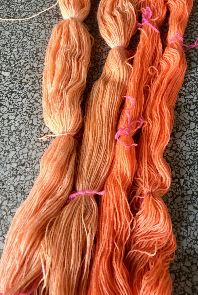 Oranges from paper mulberry plant dye