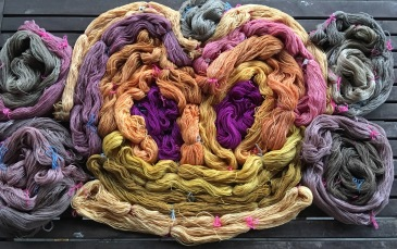 Yarn dyed with plant colors extracted by cooking and fermentation