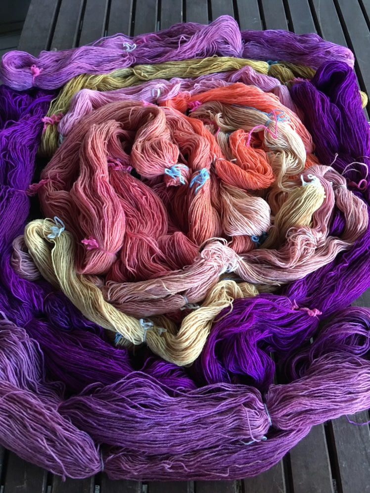 Variety of plant-dyed yarn colors
