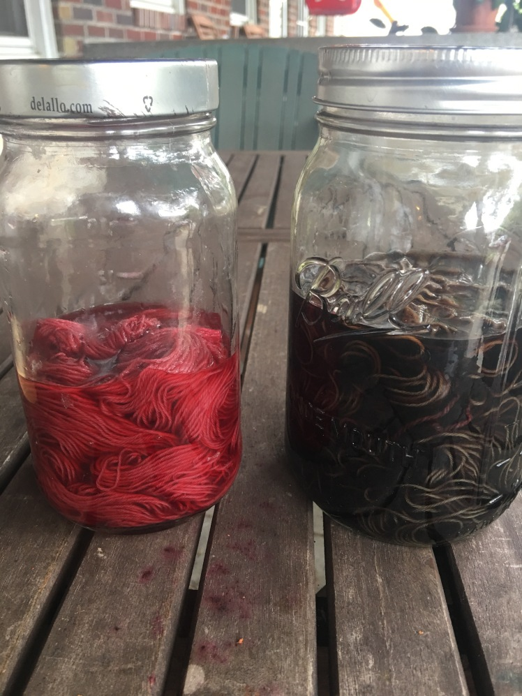 Yarn in acidic and alkaline baths of fermented hibiscus dye