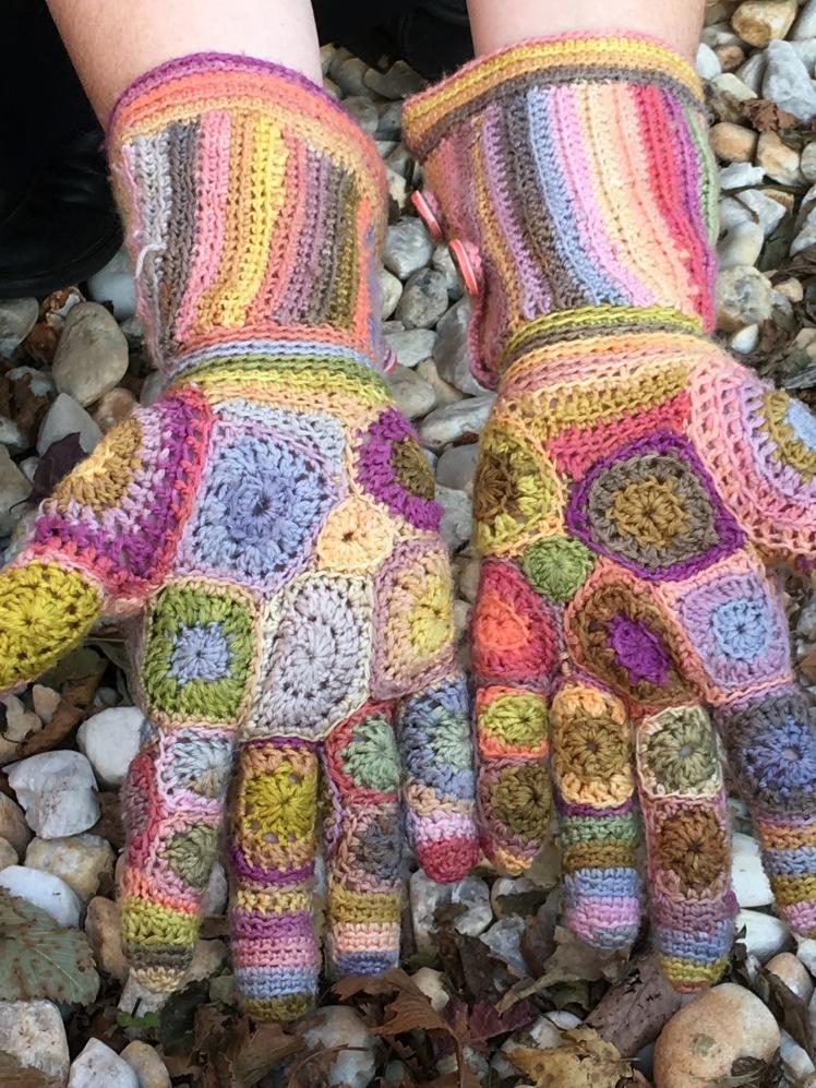 Patchwork crochet gloves, palms up