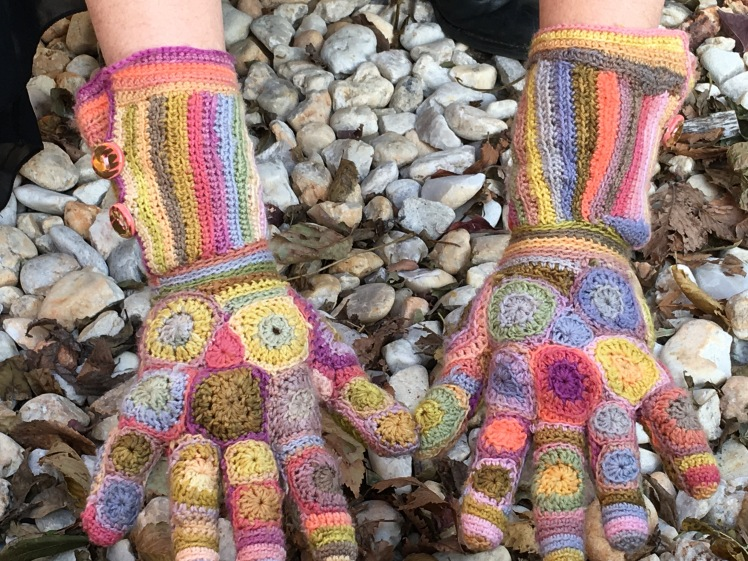 Top view of patchwork crochet gloves