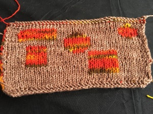 Double-knitted swatch on brown-dominant side
