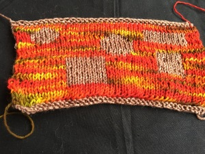 Double-knitted swatch on red-dominant side