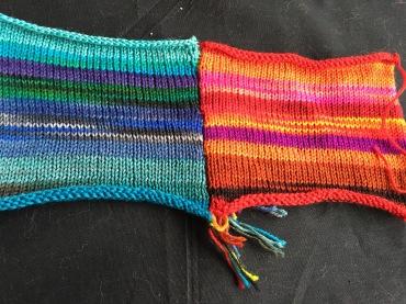 Knit side of striped machine knit swatch