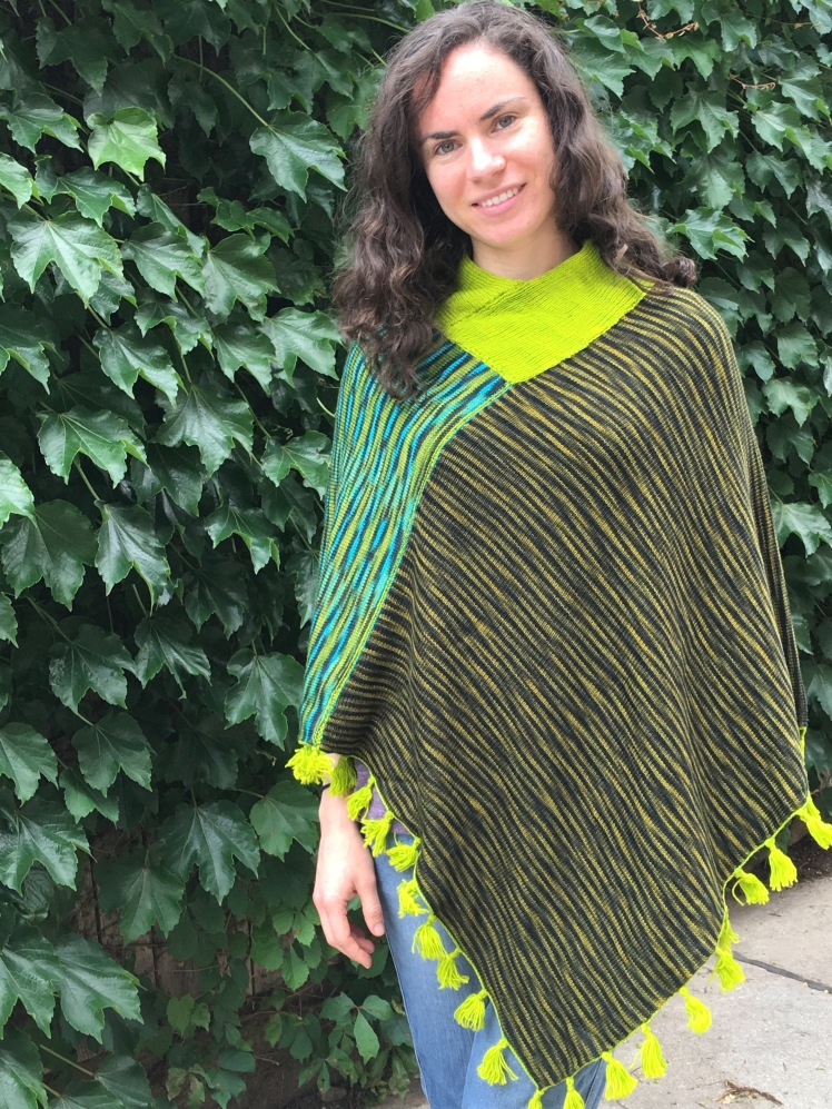 Reversible poncho with ribbed neck