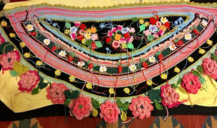 Unfinished crocheted shawl from Adinda's World kit