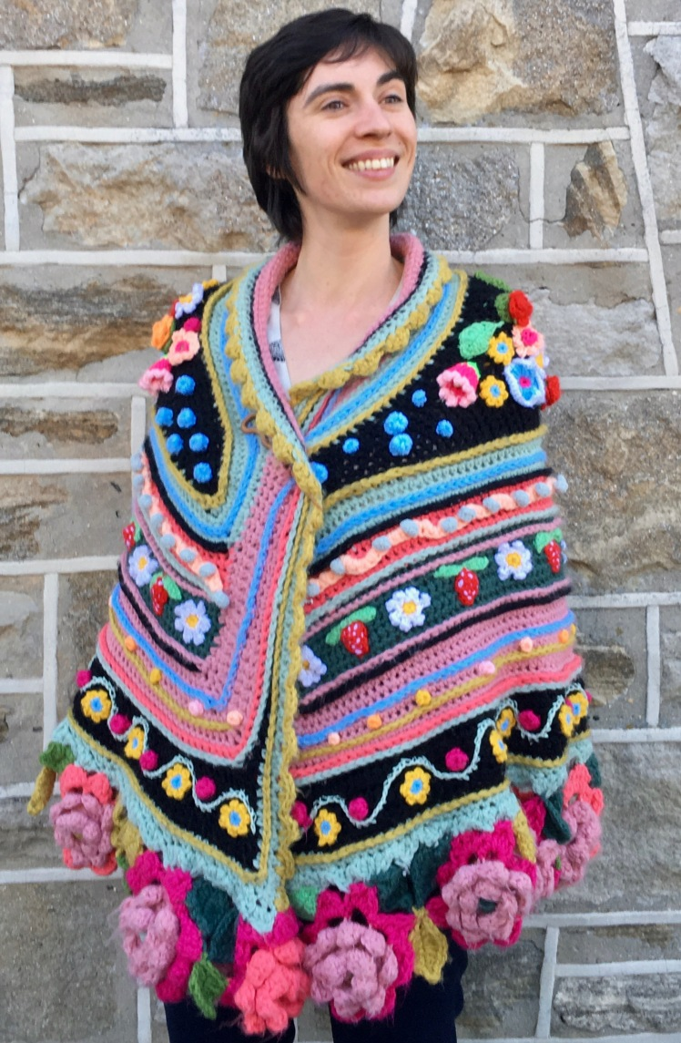 Modeled front view of crocheted shawl