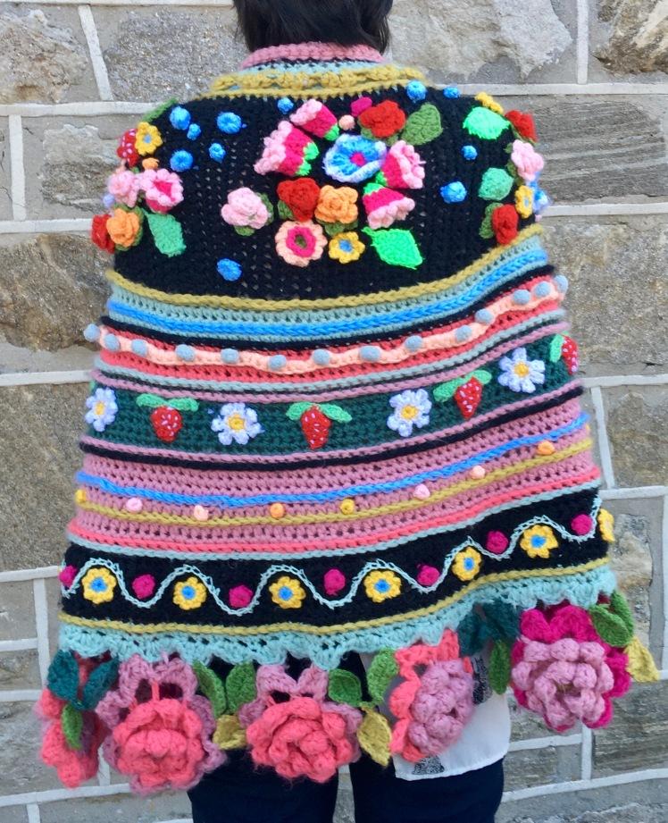 Back of modeled crocheted shawl