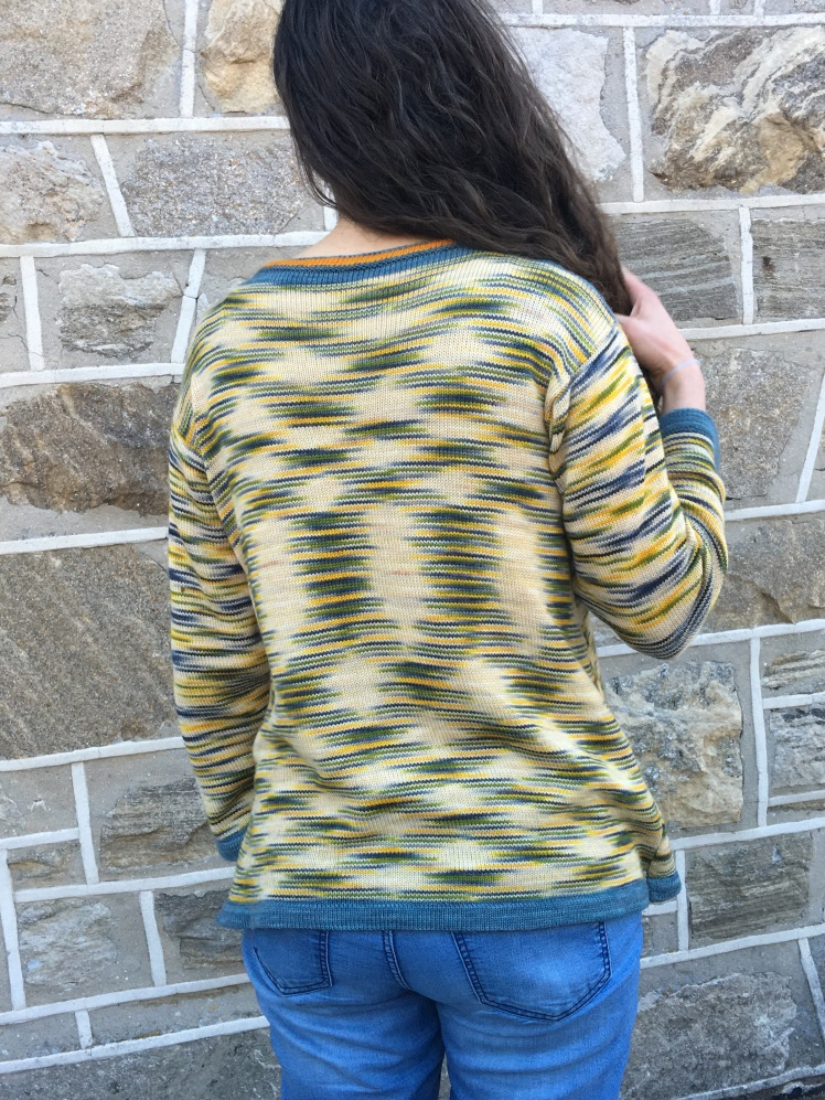 Rear view of pullover machine-knit in Aspen Tree colorway