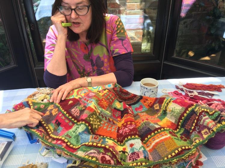 Liz Baltecz with plant-dyed intarsia shawl