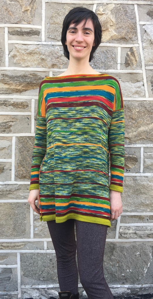Tunic machine-knit in stripes of Wollmeise fingering weight yarn