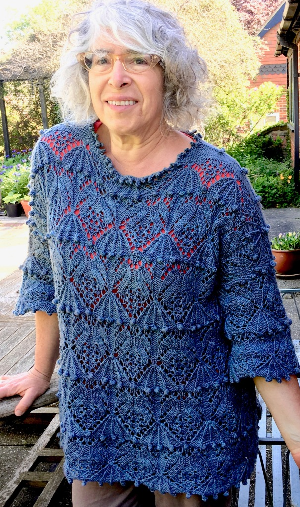 Modeled front view of Slouching Towards Japan pullover