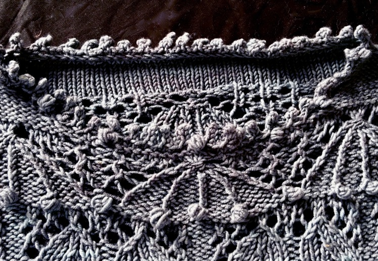Detail of neck shaping and picot bind-off