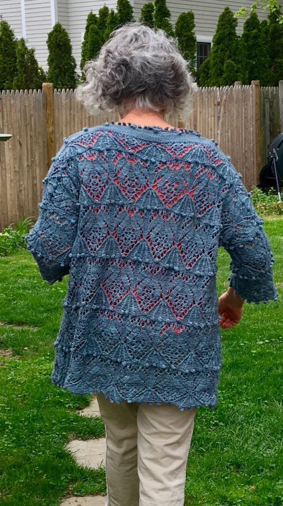 Back view of oversized, drop-shouldered pullover