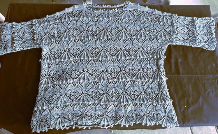 Oversized, drop-shouldered pullover with Japanese stitch pattern
