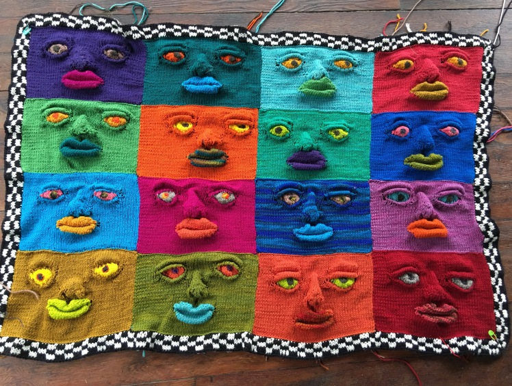 Wallhanging of faces after filling and defining facial features