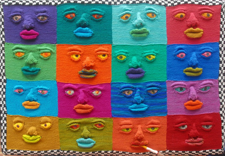 DNA, a wall hanging of knitted faces