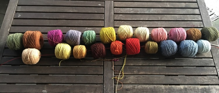Color sequences of plant-dyed yarn