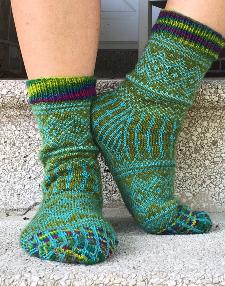 Front and side of Katherine Misegades' Peaks & Valleys socks