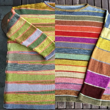 composite picture of two plant-dyed striped sweaters
